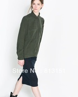 (Free Shipping) 2014   Women's Girls Fashion Embroidery Pattern Army Green Casual  Blouse Ladies fashion  shirt