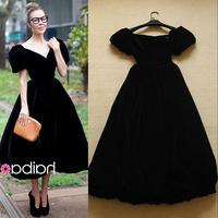 2014 Spring & Summer Sweet Elegant Fashion Elegant Puff Sleeve Black Active Dress