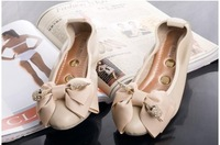 Skull rhinestone bow pointed toe wedges stone pattern low-heeled shoes boat shoes ladle shoes  women genuine leather shoes