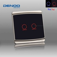 2014 smart home  DENOO  Luxury Knight black 2 gang 1 way wall light touch switch, tempered glass panel with LED indicator