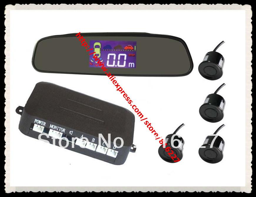 PZ502 LCD digital display+4 sensors+3 step Bibi sound+Rearview Mirror Car Parking Sensor Backup Reverse Radar Alert Alarm System(China (Mainland))