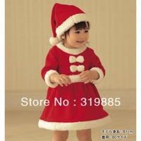 2 pcs/lot 2014 new baby  Long sleeve girl dress very cute Christmas Dress and hats free shipping baby clothing
