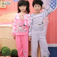 Child sleepwear 2013 spring and autumn female child sleepwear boys long sleeve length pants sleep set lounge