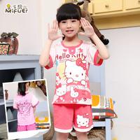 Child summer sleepwear female child 100% cotton short-sleeve children's clothing fashion girl family baby sleep set