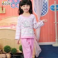 2013 spring and autumn child sleepwear female child autumn long sleeve length pants children's clothing set little girl lounge
