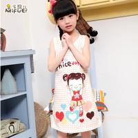 100% child cotton sleepwear female child nightgown family fashion short-sleeve summer sleepwear lounge set