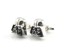Black Silver Darth Vader Mask Helmet Dark Lord Sith Star Wars Wedding Groom Men Cuff Links Business Silver Cufflinks For Mens