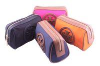 LZ 2014 hight quality fashion big brand logo nylon with leather zipper cosmetic case Clutch handbag 11*17*8cm fast shipping