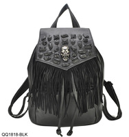 New Arrival 2014 Fashion Black Backpack PU Leather Shoulder Bag Women's Skull Mochila With Tassel Free Shipping QQ1818