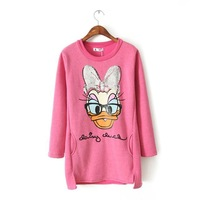 2014 New Arrival Women's Animal Pattern Hoodies Fashion Sequin Duck sweatshit for Lady