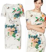Summer Spring 2014 Short Sleeve White Cotton Blend Knee-length Chinese Air Style Flowers Floral Printed Cheongsam Dress Vestidos