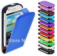 galaxy s3 mini flip case, leather cover for samsung galaxy s3 mini i8190 200pcs/lot 50pcs per color free shipping