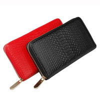2014 New Fashion Genuine Cow Leather Zipper long Wallets Purse, Women's Snake Pattern Organizer Clutch Wallet