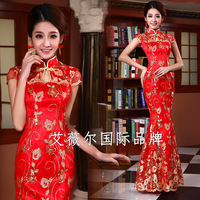 2013 long design the bride married cheongsam formal dress evening dress of the wedding chinese style cheongsam short-sleeve fish