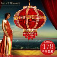 Chinese style big red crystal lantern rotating pendant light balcony pendant light rotation lighting