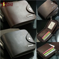 Men's Leather Simple Design Bifold Zip AROUND Wallet Coin Bag Purse Card holder Fashion Wallets for Men D826-37