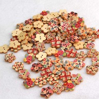 2 Holes Wood Buttons Cute Pentagon Mixed Colorful Plum Flower Paint Design Clothing Accessories Sewing Buttons HG-05367-25PCS