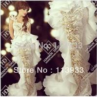 2014 Myriam Fares New Arrival Fashion Luxury Gold Crystal Mermaid Ruffles Train Evening Prom Celebrity Dress Gown Custom Made