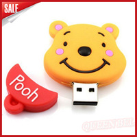 2014 New  Latest Gifts Pooh Cartoon Rubber usb flash drives 8GB 16GB 32GB 64GB pen drive thumb drive flash disk 2.0!