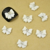 100pcs/lot Nail art accessories finger accessories resin flower nail art diamond white butterfly 10 mm diameter 1  ,free shiping