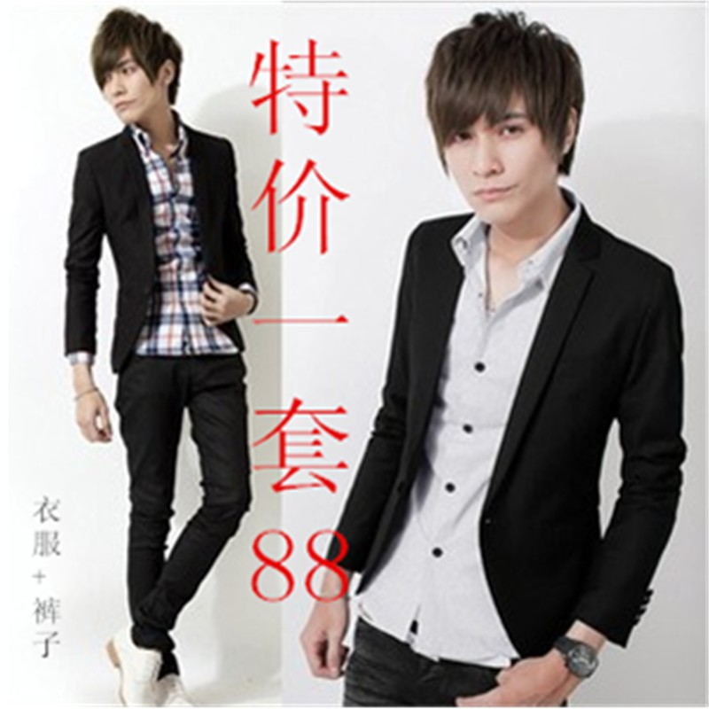 Men's clothing autumn male male slim blazer casual trousers fashion suit trend set(China (Mainland))