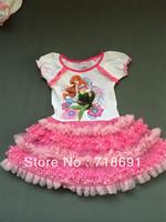In Stock! Girls Princess Dress, Summer ruffle cartoon kid dress ball gown party wear for girls 4pcs/lot