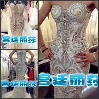 Ultimate luxury crystal formal dress formal dress toast the bride married formal dress evening dress xj5588