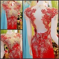 Ultimate luxury crystal formal dress formal dress toast the bride married formal dress evening dress xj12002