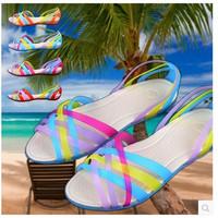 women shoes woman sandals women genuine leather shoes Beach sandals Colorful fish head Rome jelly Garden Leisure Cozy 1-34