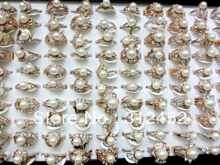 Wholesale bulk lots 50pcs Fashion assorted Faux Pearl/Rhinstone Rings jewelry(China (Mainland))