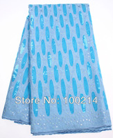 Free shipping 2014 high quality African big organza lace fabric in turkey bule/sky bule sequins,5 yards/lot,TKL1945