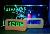 Free Shipping Green LED Fluorescent Message Board Digital Alarm Clock With 4 Port USB Hub Calendar Night light 95259