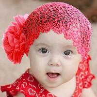 10pcs Baby Girl's Big Flower Hair Net Mesh Hairband with Big  Flower Girl's Headdress cute baby  Wholesale direct manufactory