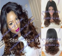 Stock!! Two tone lace wigs #1B#4 Loose Wave Brazialian virgin hair Ombre glueless full lace wigs free shipping