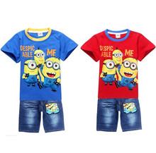 Baby Boy Clothing Set Despicable Me Minions Boys t shirts + Pants Baby Casual Vestidos Boys Clothing Kids Clothes Sets Minion(China (Mainland))