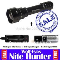 New 2014 Police Shockers Equipment Wolf-eyes Nite Hunter Night Hunter 1210 Lumen Cree L2 LED Zoom Hunting Torch
