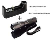 UltraFire E17 zoom 2000Lumens CREE XM-L T6 High Power Torch Zoomable LED + battery holder + 18650 holder+18650 Battery cgarger