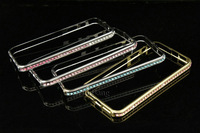 New Luxury charms Bling shining crystal aluminum diamond metal hard bumper frame case for apple iPhone 5 5G 5S free shipping