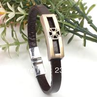 Free shipping!6pcs/lot! 2013 New Designer Antique Copper Leather Hollow Cross Bracelet Trendy Men's Alloy Jewelry