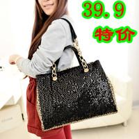 free shipping Winter 2014 PU women chain bag leopard print paillette trend handbag one shoulder female lether messenger bags