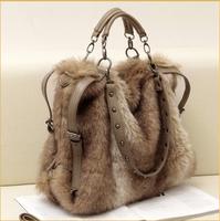 free shipping  2013 women's handbag fashion all-match winter rabbit fur bags women's shoulder cross-body handbag