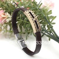 2014 new jewelry wholesale alloy buckle cross bracelet bracelet punk style leather bracelet antique copper
