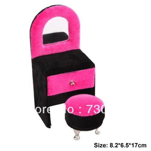 Mini furniture velvet sofa jewellery display case, dressing table shape, 8.2*6.5*17cm, sold by lot(5pcs/lot)(China (Mainland))