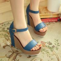Super-elevation wedges platform open toe sandals high quality gladiator patchwork summer all-match elegant sandals size35-39