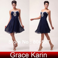 2014 GK Fashion Girl's Party Cocktail Dress Short Prom Dresses Sweetheart Navy Blue Ball Gown Chiffon Evening Dress CL6035
