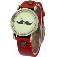 2014 Newest Red Women's Ladies Girls Students Cute Black Beard Moustache Analog Quartz Hand Hour Wristwatches, Free Shipping