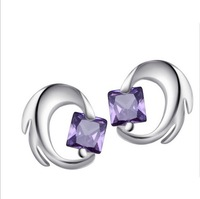 Wholesale & Retail for 100% Guaranteed Full 925 Sterling Silver Amethyst Earrings, 925 Silver Earrings,Top Quality!! (120068)