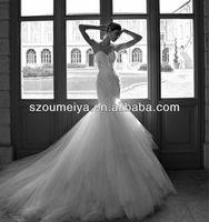 Free Shipping Oumeiya ONW607 Luxury Pearls Beaded Top Sexy Mermaid Wedding Dresses 2014