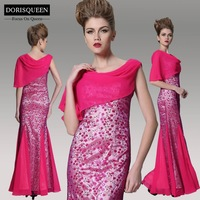 DORISQUEEN embroidery ready to wear free shipping a line chiffon floor length sexy new arrival red long mermaid prom dresses