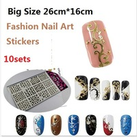 2014 Luxury Fashion 10set X Big Size 26cm*16cm Salon Quality  Metallic Gold Plated 3d Nail art stickers Decoration